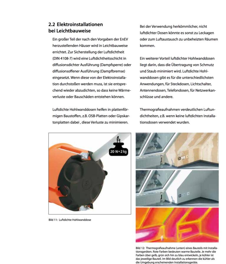 Rechtliche Hinweise und Verarbeitungstipps zur normgerechten luftdichten Elektroinstallation