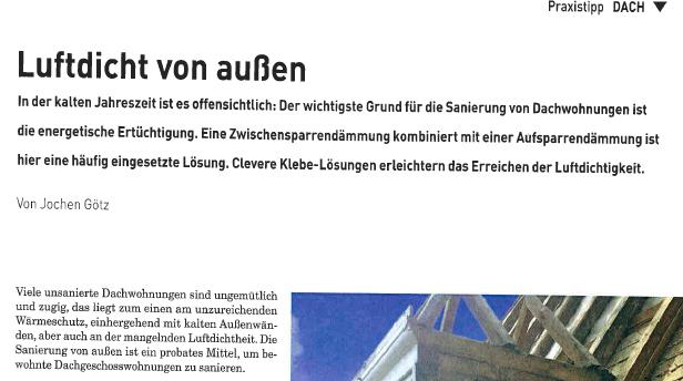 Pressespiegel: Artikel über Luftdichtung in dach+holzbau
