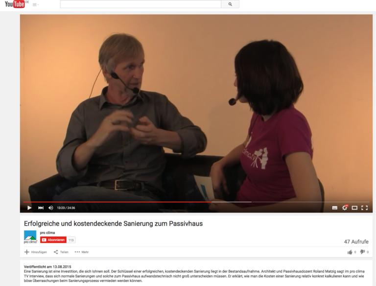 Interviewserie und Artikel zum Thema Passivhaus sanieren