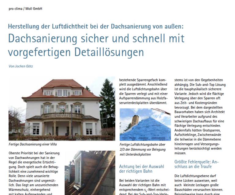 Fachartikel zum Download: Dachsanierung mit vorgefertigen Detaillösungen