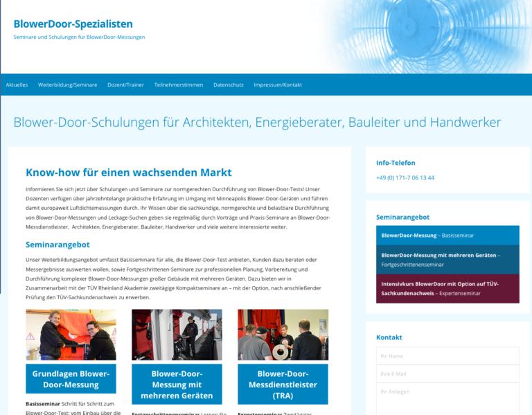 Am 12. und 13. März in Schwetzingen: TÜV Blower-Door-Ausbildung