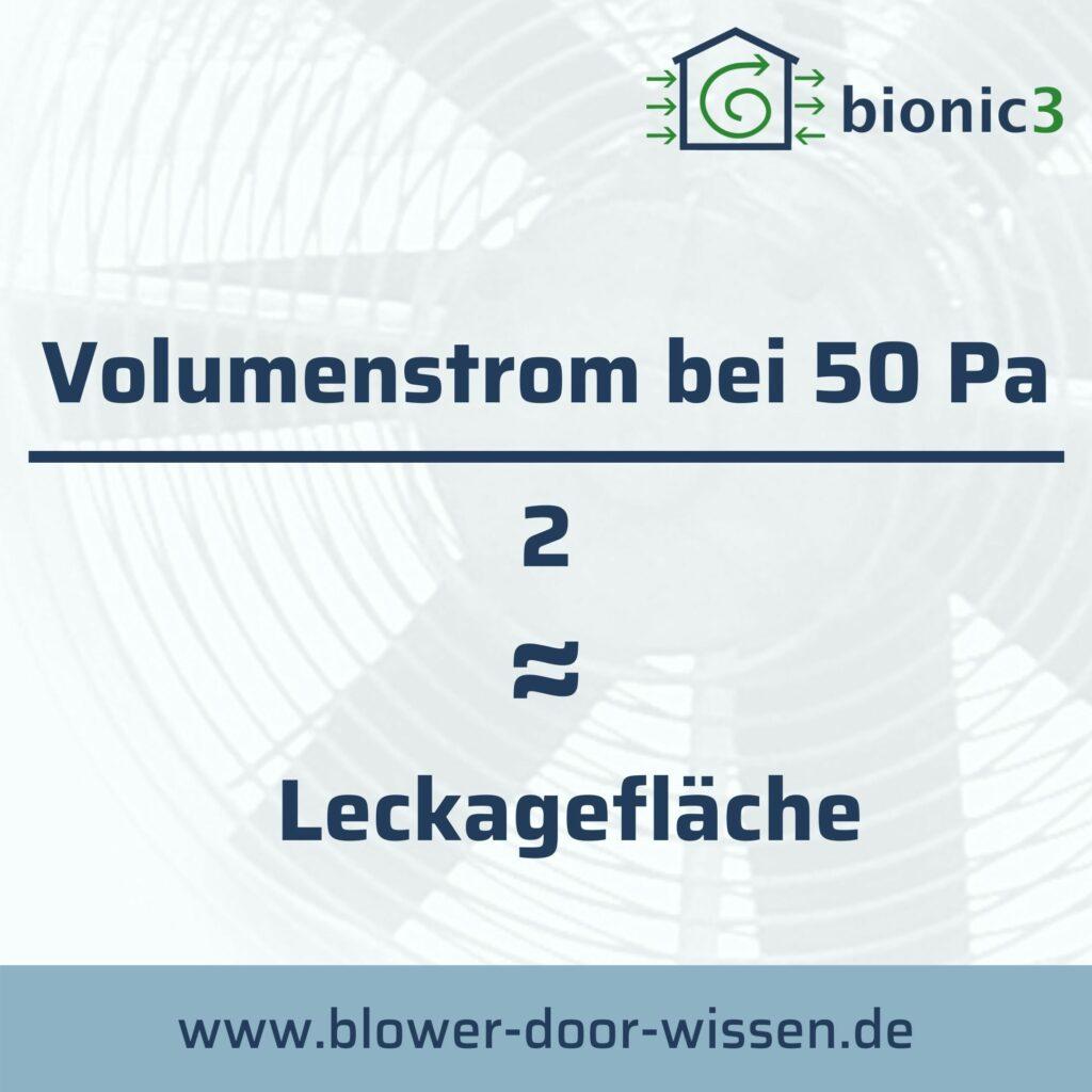 Volumenstrom bei 50 Pascal geteilt durch 2 entspricht in etwa die Leckagefläche. Hier die Formel als PDF: https://www.bionic3.de/wp-content/uploads/2020/06/Luftwechselrate_Leackaflaeche.pdf